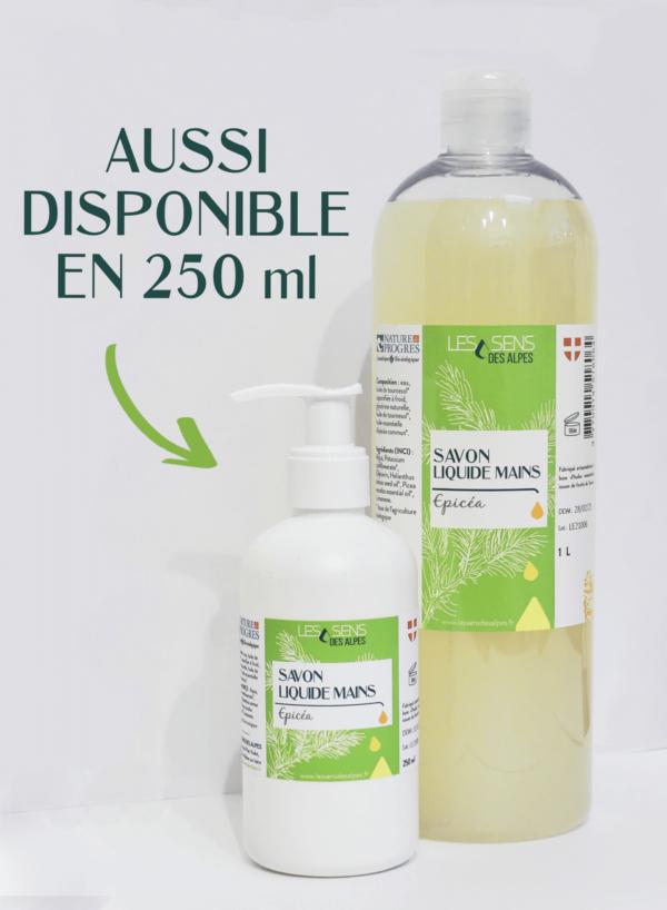 Flacons de 250ml et 1 litre de Savon Liquide Epicea Bio